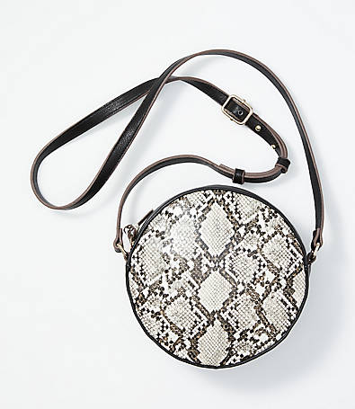 LOFT Snake Print Circle Bag