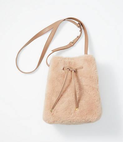 LOFT Faux Fur Bucket Bag