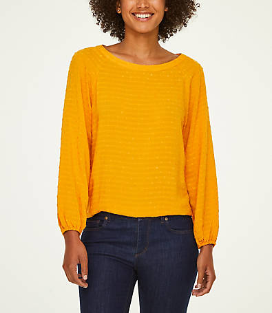 LOFT Dot Striped Boatneck Blouse