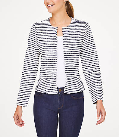 LOFT Petite Striped Knit Peplum Jacket