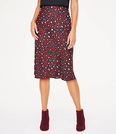 LOFT Petite Leopard Print Midi Skirt