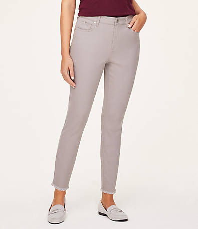 LOFT High Rise Skinny Ankle Jeans in Storm Cloud