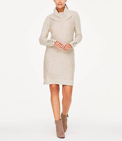 LOFT Button Cuff Cowl Neck Sweater Dress