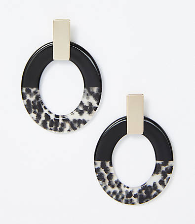 LOFT Animal Print Colorblock Earrings