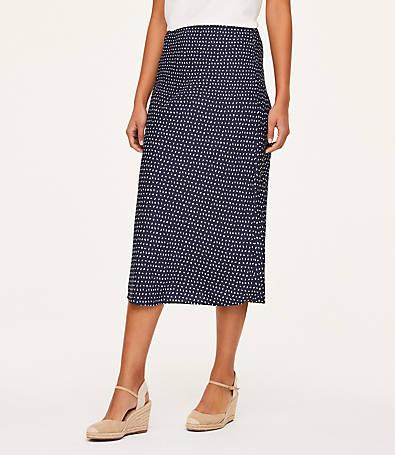 LOFT Leafed Satin Midi Skirt