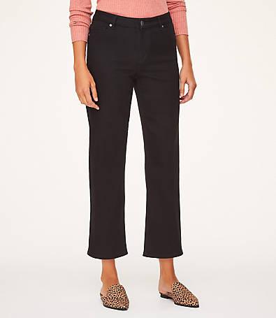 LOFT High Rise Slim Wide Leg Crop Jeans in Black