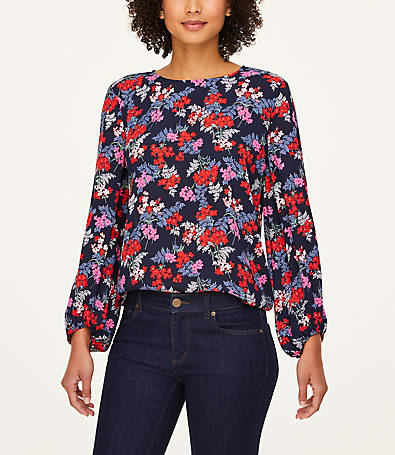 LOFT Floral Draped Sleeve Blouse