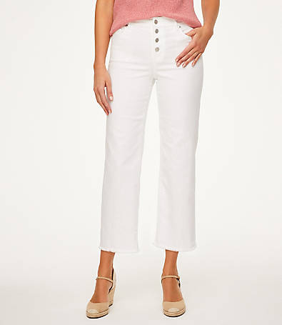 LOFT High Rise Button Front Slim Wide Leg Crop Jeans in White