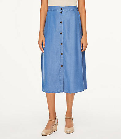 LOFT Chambray Button Front Midi Skirt