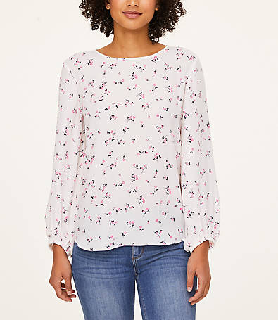 LOFT Meadow Draped Sleeve Blouse
