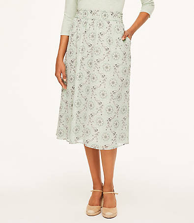 LOFT Medallion Midi Skirt