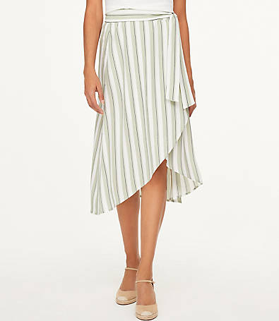 LOFT Striped Wrap Midi Skirt