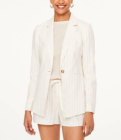 LOFT Striped Linen Blend Blazer