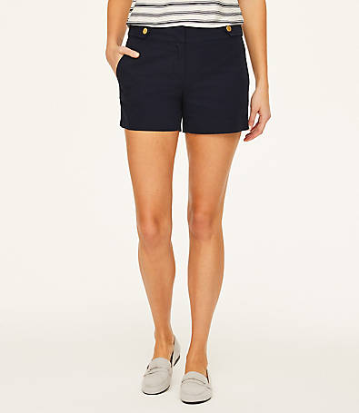 LOFT Button Tab Twill Shorts with 4 Inch Inseam