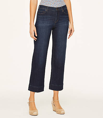 LOFT High Rise Slim Wide-Leg Crop Jeans in Nordic Blue Wash