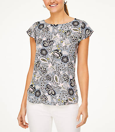 LOFT Floral Bar Back Flutter Top