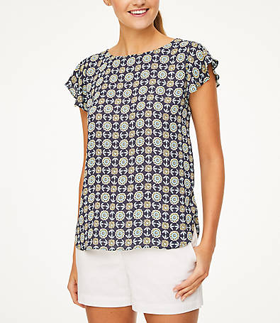 LOFT Blossom Bar Back Flutter Top