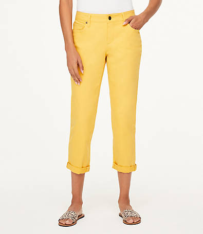 LOFT Curvy Crop Jeans in Yellow Feather