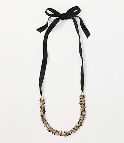 LOFT Beaded Cluster Ribbon Necklace