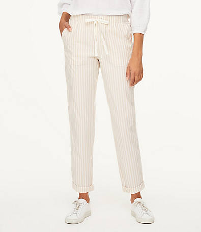 LOFT Striped Drawstring Pants