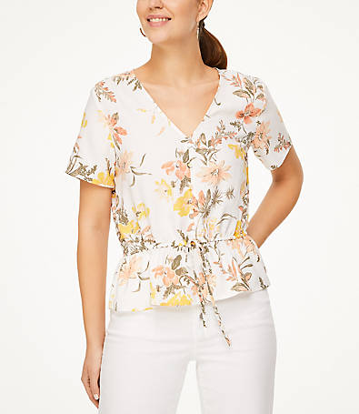 LOFT Bouquet Button Tie Waist Top