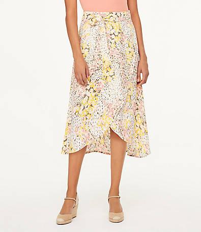 LOFT Petite Garden Wrap Midi Skirt