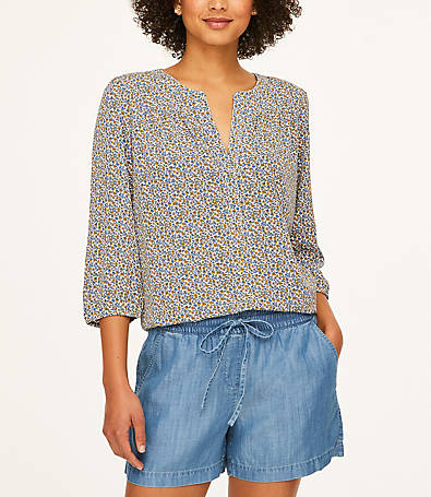 LOFT Shimmer Split Neck Blouse