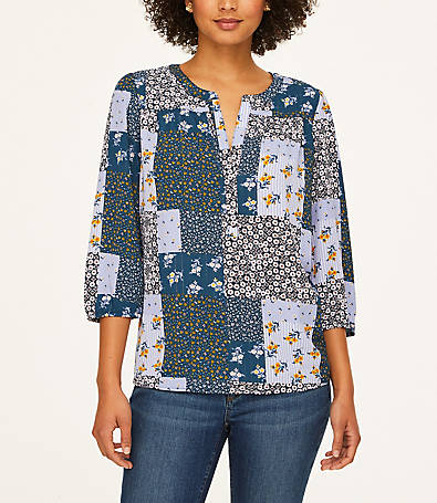 LOFT Patchwork Shimmer Split Neck Blouse