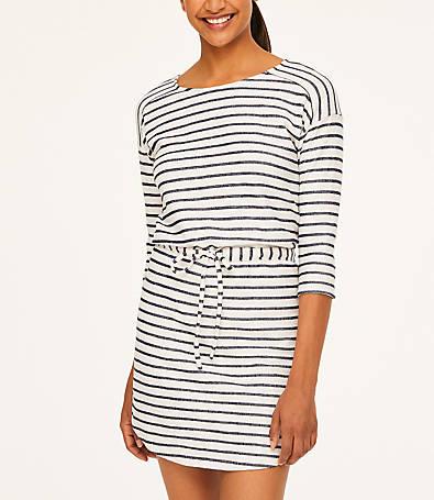 LOFT Striped Drawstring Dress
