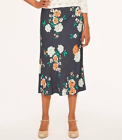 LOFT Petite Garden Satin Midi Skirt
