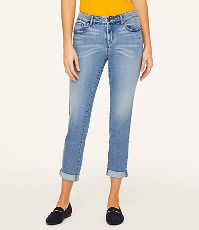 LOFT Petite Roll Cuff Crop Jeans in Pale Indigo Wash