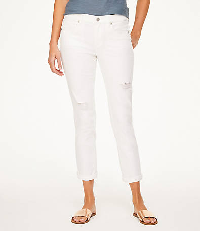 LOFT Petite Destructed Crop Jeans in White