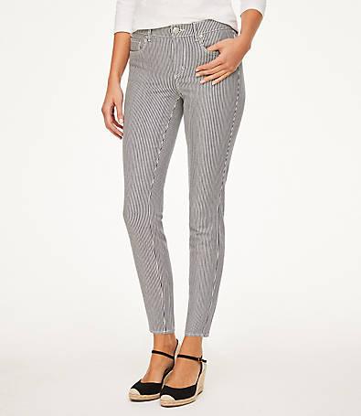 LOFT Petite Curvy Striped Skinny Ankle Jeans in Industrial Navy