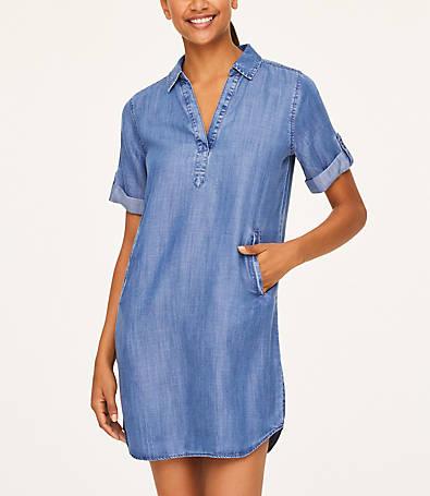 LOFT Split Neck Shirtdress