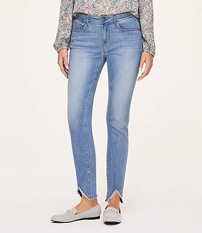 LOFT Petite Curvy Frayed Skinny Ankle Jeans in Cosmos Blue Wash