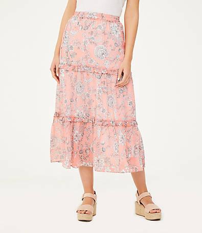 LOFT Floral Tiered Maxi Skirt
