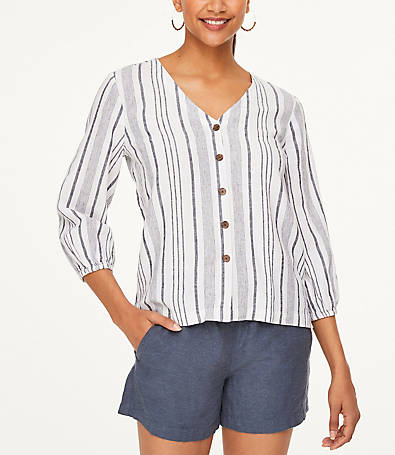 LOFT Striped Drapey Boatneck Top