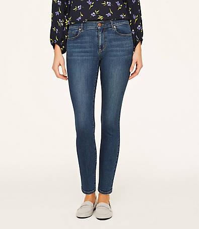 LOFT Curvy Skinny Ankle Jeans in Modern Indigo Wash