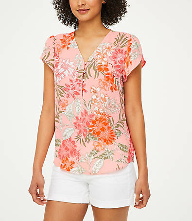 LOFT Floral Covered Button Top