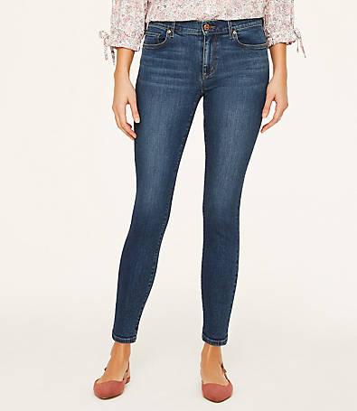 LOFT Petite Curvy Skinny Ankle Jeans in Modern Indigo Wash