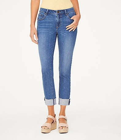 LOFT Petite Curvy Cuffed Wide Leg Crop Jeans in Dawn Wash