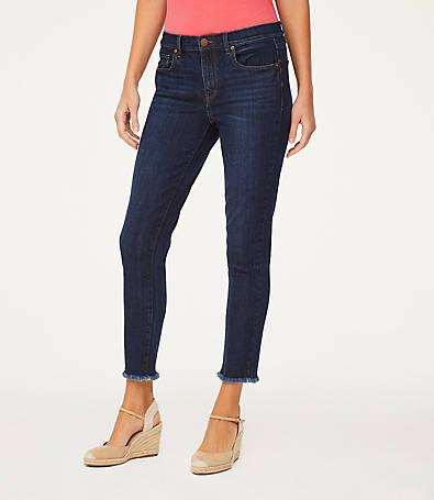 LOFT Petite Frayed Crop Jeans in Dark Vintage Wash