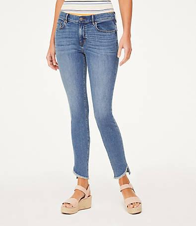 LOFT Petite Curvy Tulip Hem Skinny Ankle Jeans in Azure Wash