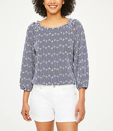 LOFT Striped Eyelet Blouse