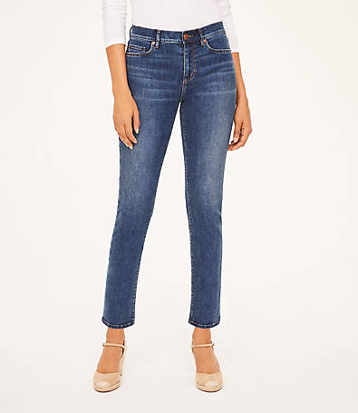 LOFT Curvy High Rise Straight Leg Jeans in Modern Indigo Wash
