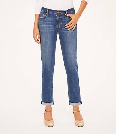 LOFT Curvy Boyfriend Jeans in Modern Indigo Wash
