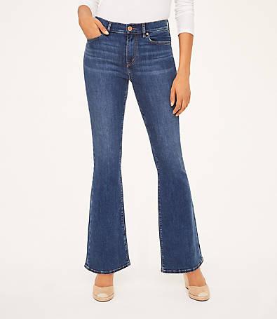 LOFT Curvy High Rise Flare Jeans in Modern Indigo Wash